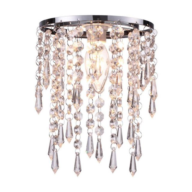 Easy Fit 1 Light Ceiling Pendant Lamp Shade In Clear Glass