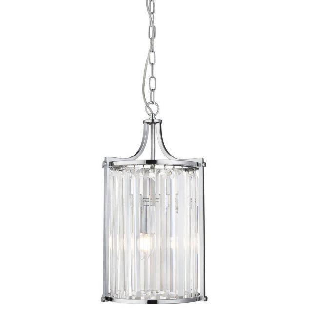 Searchlight 8092-2CC Victoria 2 Light Ceiling Pendant In Chrome And Crystal Glass