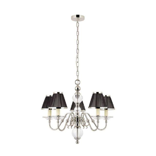 Interiors 1900 63718 Tilburg Nickel 5 Light Ceiling Pendant With Black Shades In Nickel