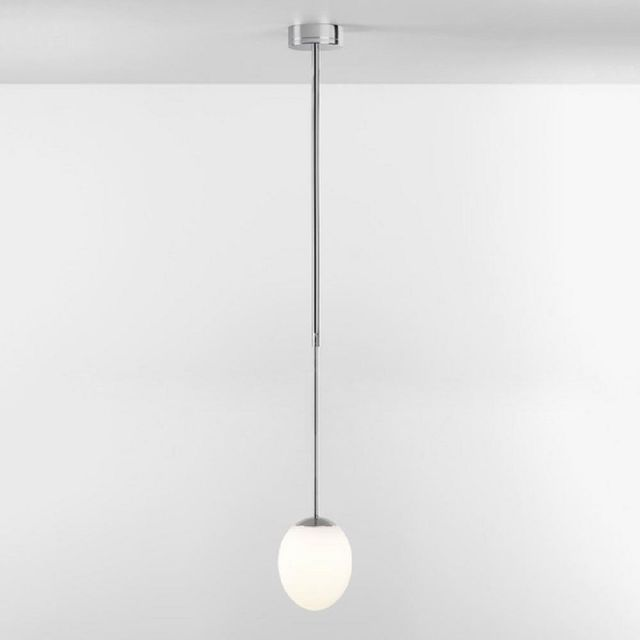 Astro 1390004 Kiwi One Light Ceiling Pendant Light In Polished Chrome With White Glass Shade