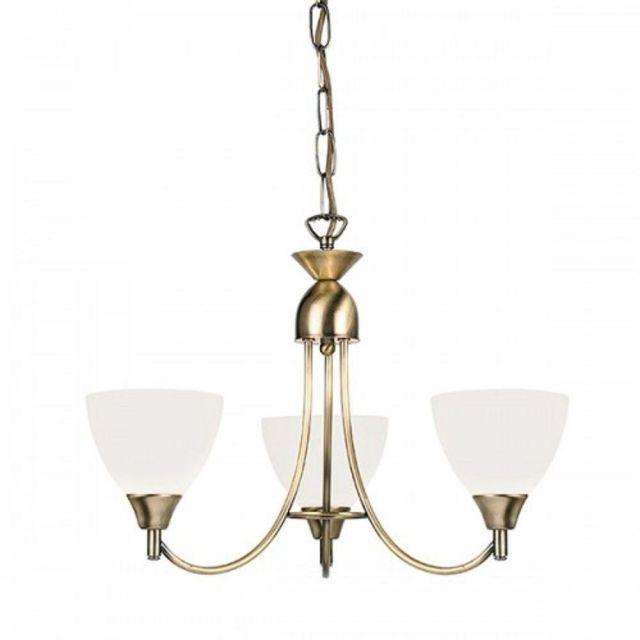 Endon 1805-3AN 3 Light Chandelier In Antique Brass