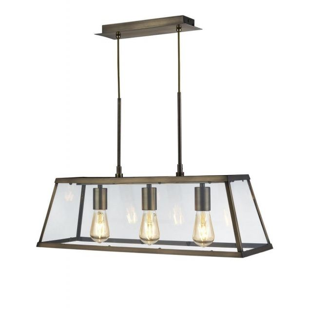 Searchlight 4613-3AB Voyager 3 Light Linear Ceiling Light In Antique Brass