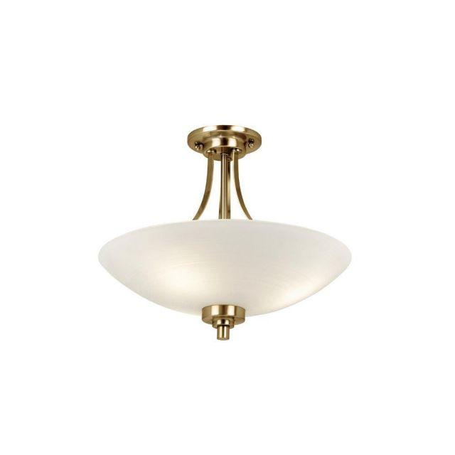 Endon WELLES-3AB 3 Light Antique Brass Semi Flush Ceiling Light