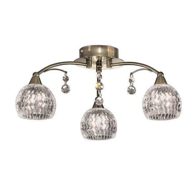 F2296/3 3 Light Bronze, Crystal Semi Flush Ceiling Light