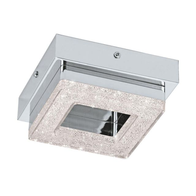 Eglo 95655 Fradelo Square LED Wall/Ceiling Light In Chrome And Crystal - L: 140mm
