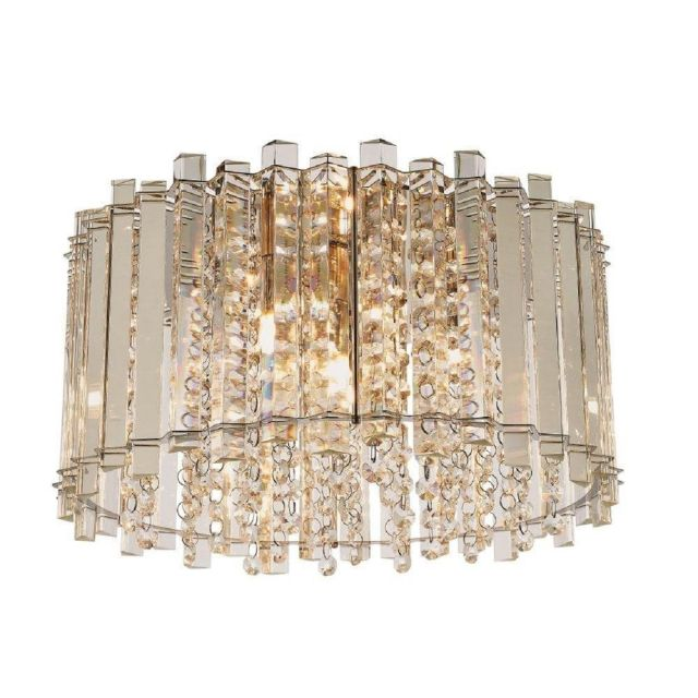 4 Light Flush Ceiling Light In Chrome Plate And Clear Crystal Glass