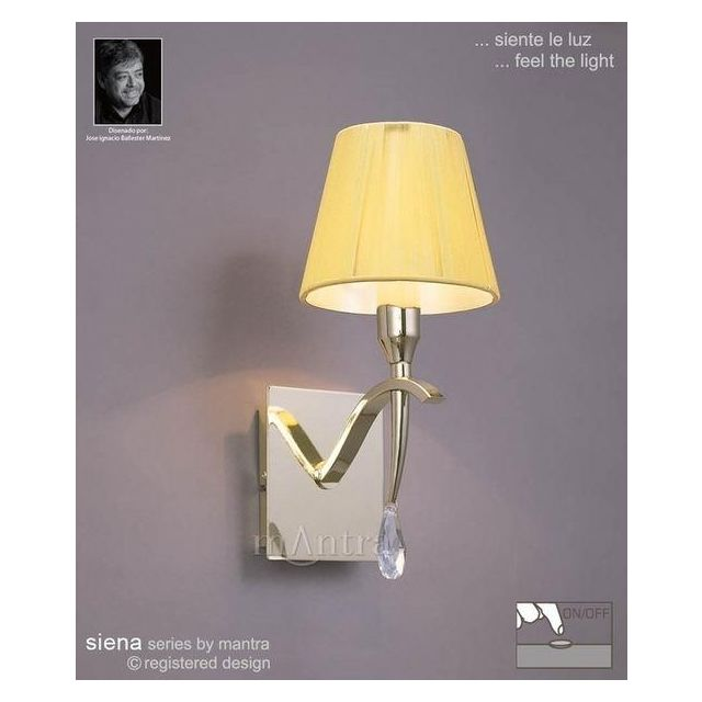 M0347PB/S Siena Polished Brass 1 Lt Switched Wall Lamp With Shades