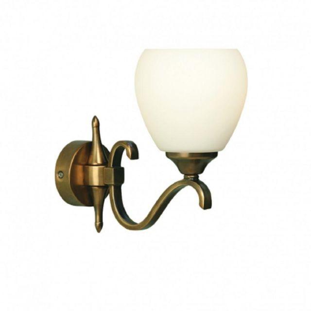 Interiors 1900 63453 Columbia Single Wall Light In Brass With Matt Opal Glass Shade