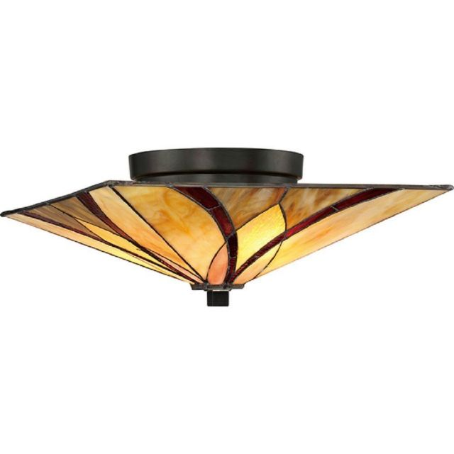 Asheville Flush Mount Ceiling Light In Valiant Bronze With Tiffany Shade
