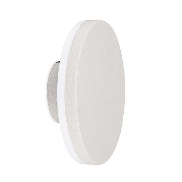 Mantra M6535 Bora 1 Light Outdoor LED Round Wall Light In White And Frosted Glass