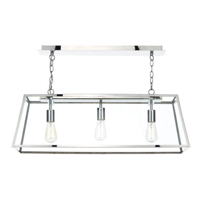 Dar ACA0344 Academy 3 Light Stainless Steel Ceiling Pendant with Clear Glass
