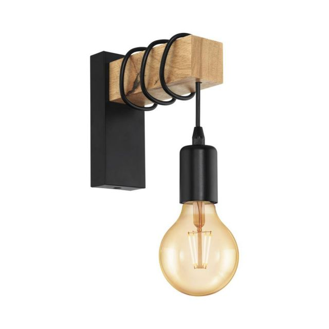 Eglo 32917 Townshend 1 Light Wall Light In Brown And Black