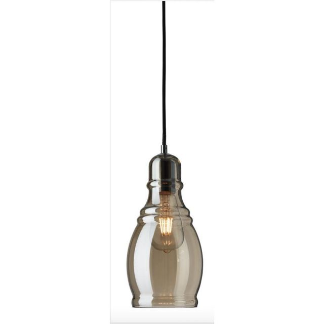 Searchlight 3604AM Olsson 1 Light Bell Ceiling Pendant Light In Chrome With Amber Glass