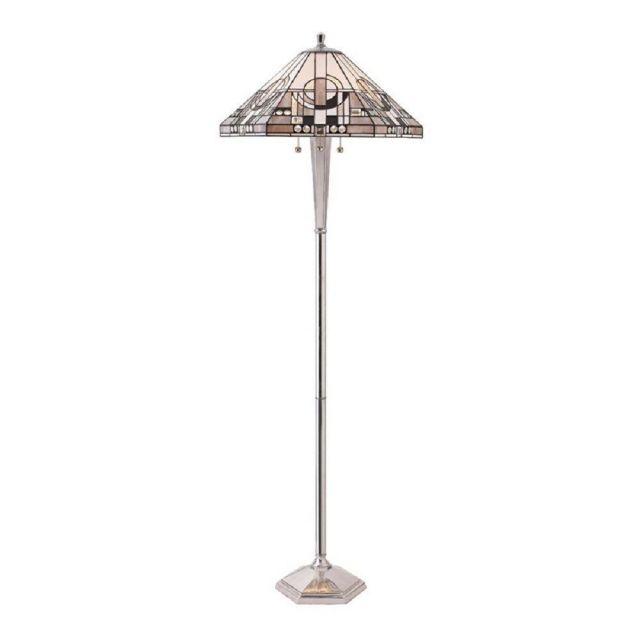 Interiors 1900 70661 Metroploitan Tiffany 3 Light Floor Lamp In Polished Aluminium And Glass