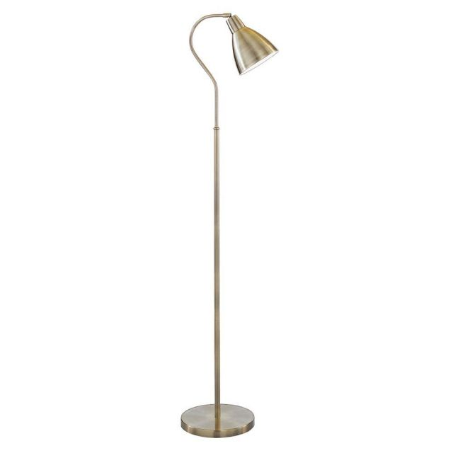 Searchlight 5026AB Antique Brass Floor  Lamp with Metal Dome