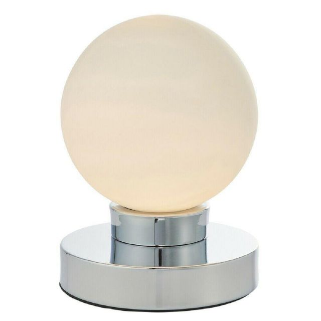 Endon 78024 Ratio 1 Light Table Lamp In Chrome Plate And Opal Glass