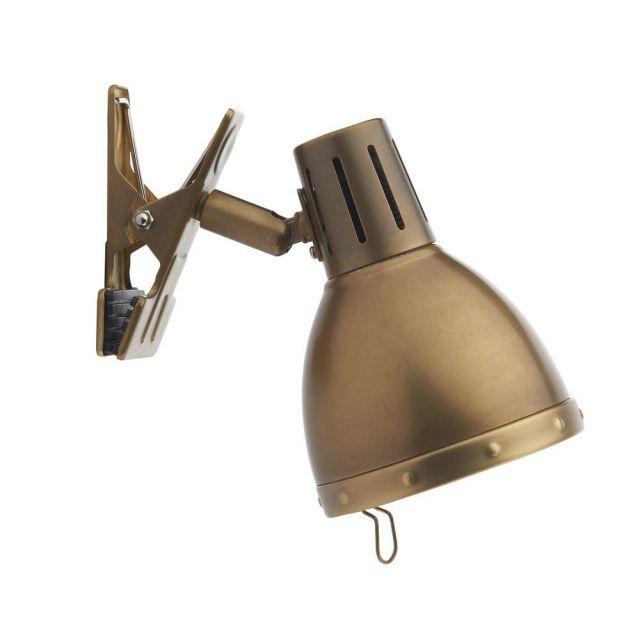Dar OSA4175 Osaka 1 Light Clip on Desk Lamp in Antique Brass