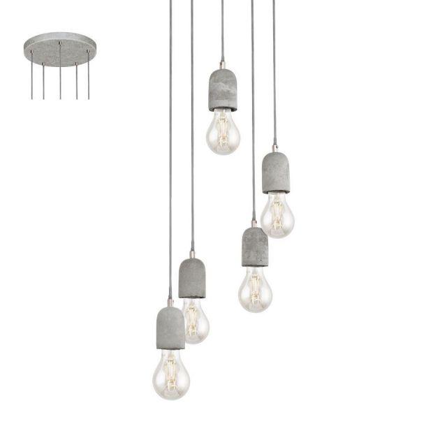 Eglo 95524 Silvares Five Light Ceiling Cluster Pendant Light In Grey