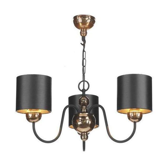 David Hunt Lighting GAR0373 Garbo 3 Light Ceiling Pendant in Bronze with Black Shades