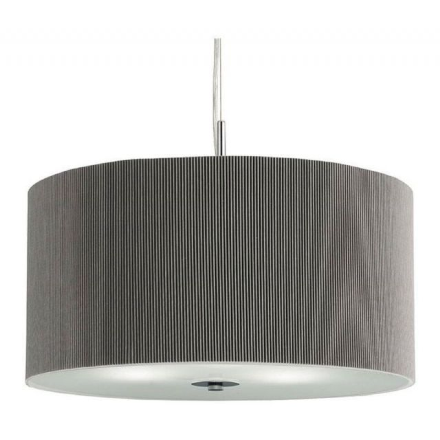 Searchlight 2356-60SI Drum Pleat 3 Light Ceiling Pendant In Chrome With Silver Shade - Dia: 600mm