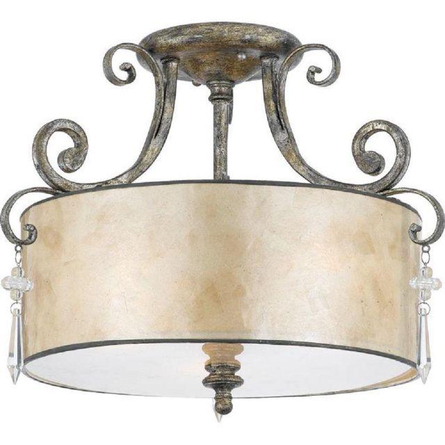 QZ/KENDRA/SF 3 Light Mottled Silver Semi Flush Ceiling Light
