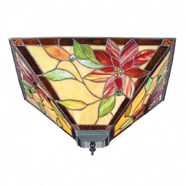 Interiors 1900 70718 Lelani Tiffany Medium 2 Light Flush Ceiling Light In Bronze