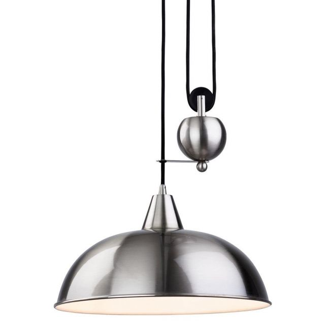 Firstlight 2309BS Century Rise and Fall Ceiling Light in Brushed Steel