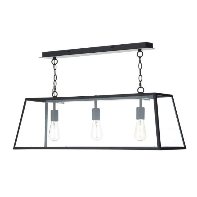 Dar ACA0322 Academy 3 Light Black Ceiling Pendant with Clear Glass
