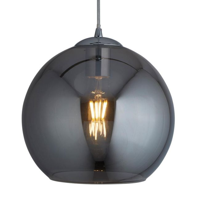 Searchlight 1621SM Balls One Light Celing Pendant In Chrome And Smoked Glass - Drop - 1200mm