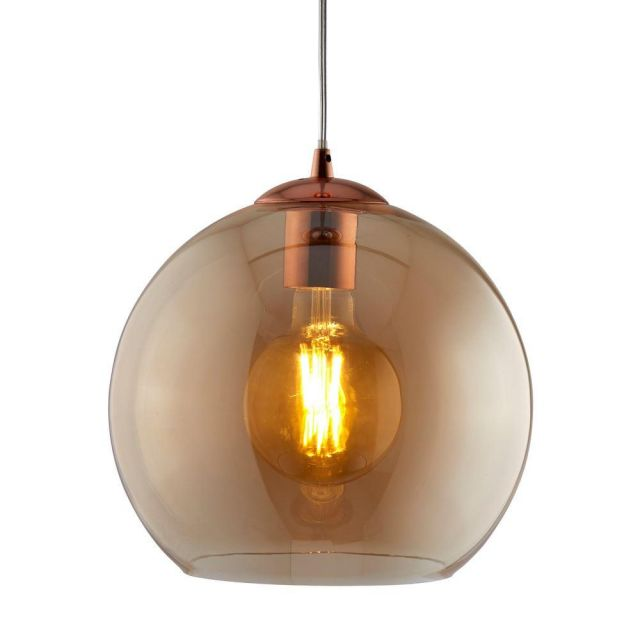 Searchlight 1632AM Balls One Light Celing Pendant In Antique Brass And Amber Glass - Width: 300mm