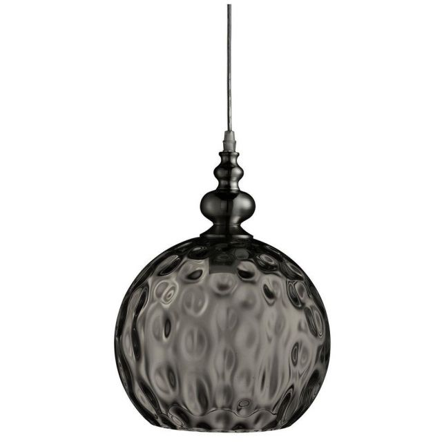 Searchlight 2120SM Indiana 1 Light Ball Ceiling Pendant Light In Chrome With Smoked Glass