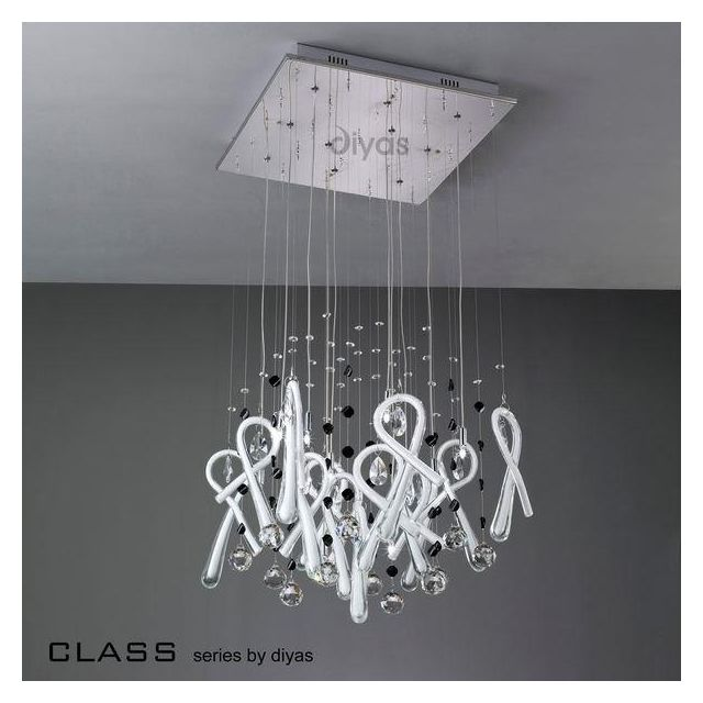 IL50404 Class White Glass And Crystal 10 Light Pendant