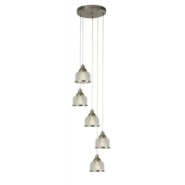 Searchlight 1585-5SS Bistro II 5 Light Cluster Ceiling Pendant In Satin Silver