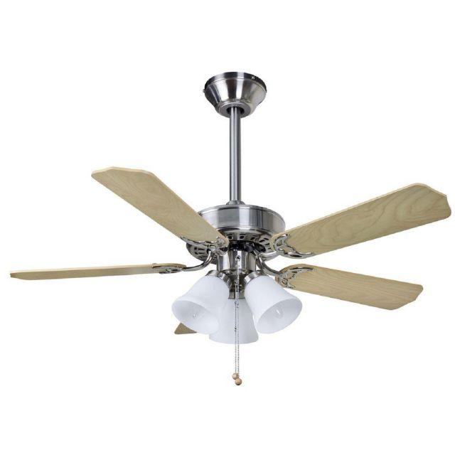 Fantasia 114239 Belaire Ceiling Fan In Brushed Nickel With 42 Inch Maple And Oak Blades And Lights