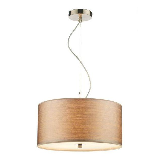 Dar TUS1046 Tuscan Pendant Ceiling Light In Satin Chrome With Shade