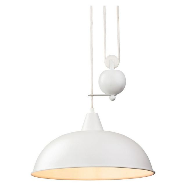 Firstlight 2309WH Century Rise and Fall Ceiling Light in White Finish