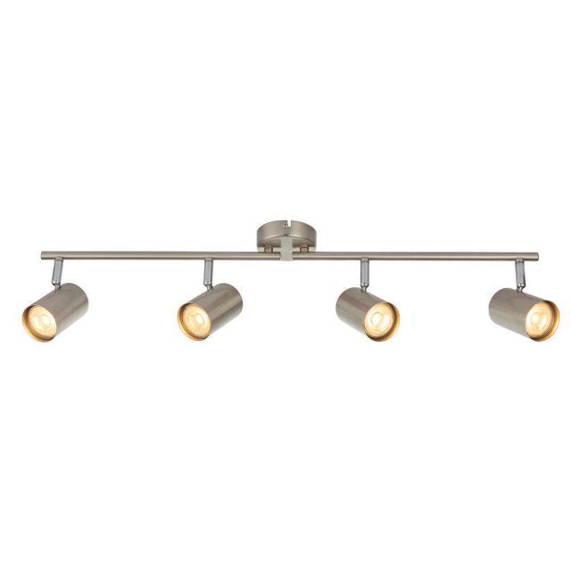 Saxby 73689 Arezzo Four Light Ceiling Bar Spotlight In Satin Chrome And Chrome Plate