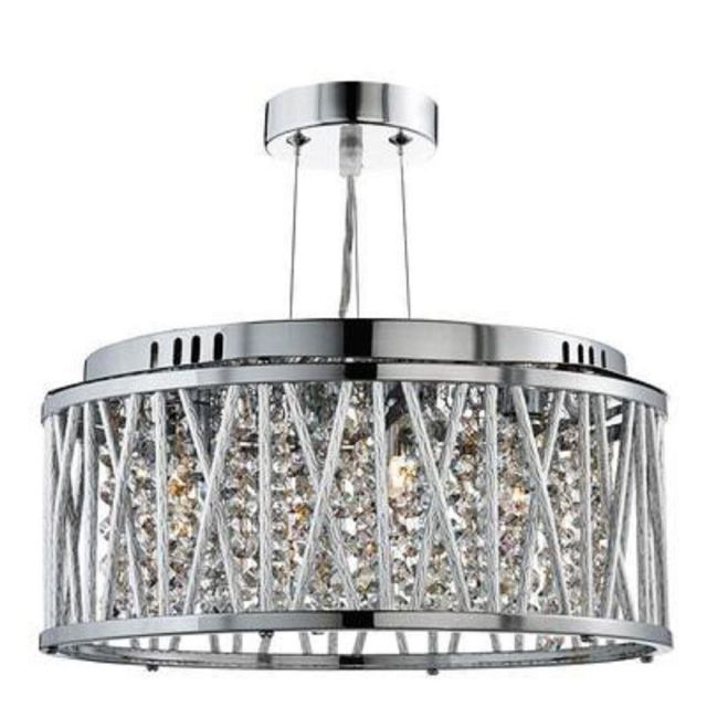 Searchlight 8333-3CC Elise 3 Light Ceiling Pendant Light In Chrome With Crystal Droplets