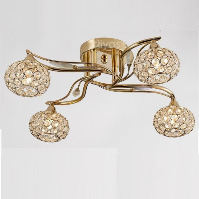 IL30964 Leimo 4 Light French Gold Ceiling Light