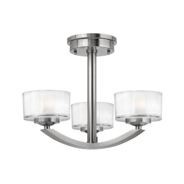 HK/MERIDIAN/SF 3 Light Brushed Nickel Semi Flush Light