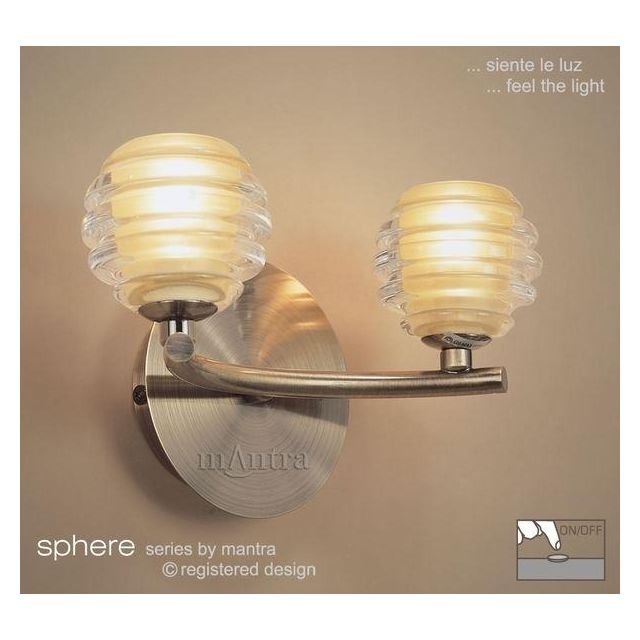 M8010 Sphere Antique Brass 2 Light Switched Wall Lamp