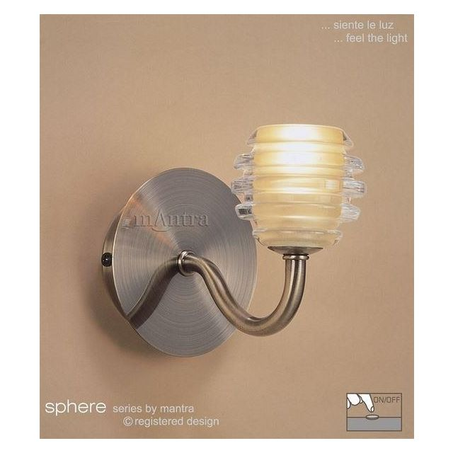 M8009 Sphere Antique Brass 1 Light Switched Wall Lamp