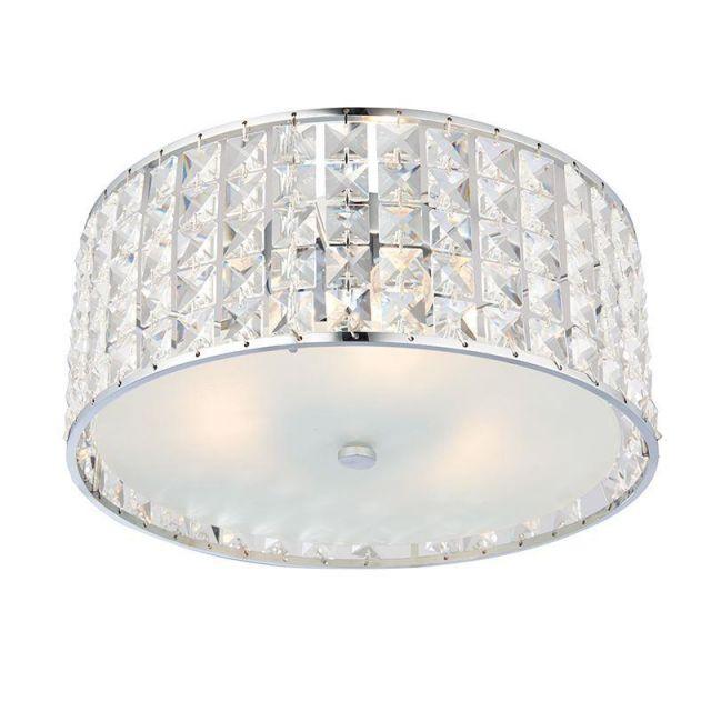 Endon 61252 Belfont Crystal Bathroom Ceiling Flush Light IP44