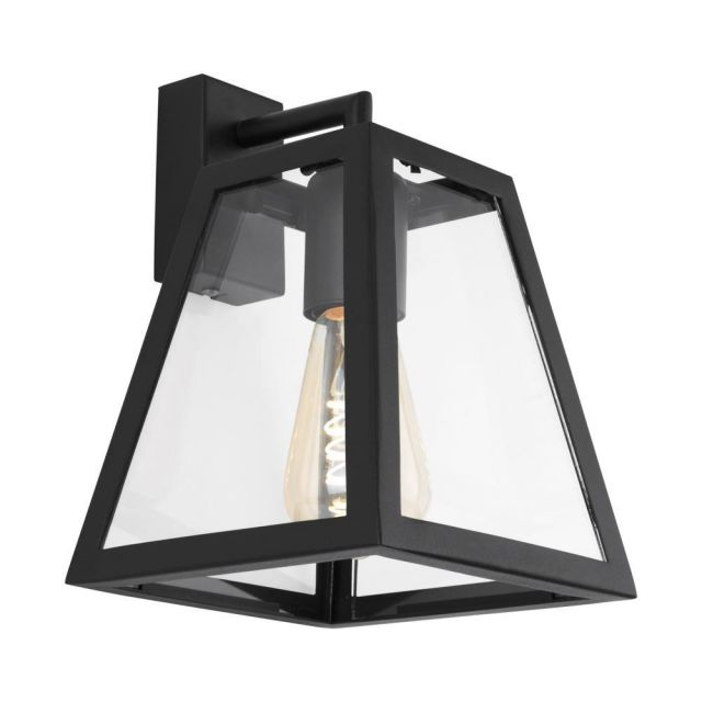 Eglo 49889 Amesbury 1 One Light Wall Lantern In Black With Clear Glass
