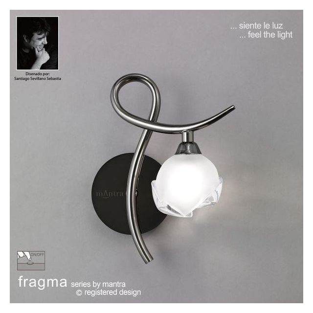 M0818BC/R/S Fragma 1 Light Black Chrome Switched Wall Lamp