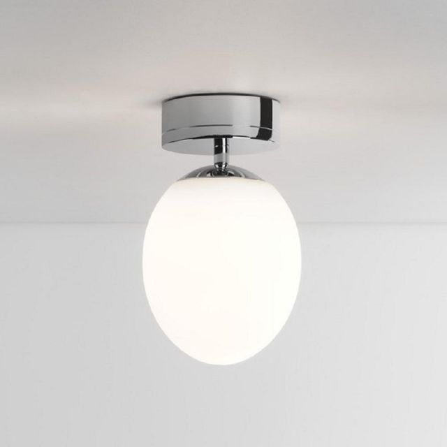 Astro 1390002 Kiwi One Light Flush Ceiling Light In Polished Chrome With White Glass Shade