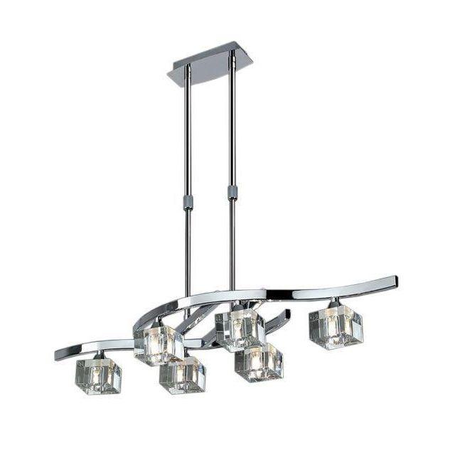 M2357 Cuadrax 6 Light Chrome Ceiling Semi-Flush Lamp