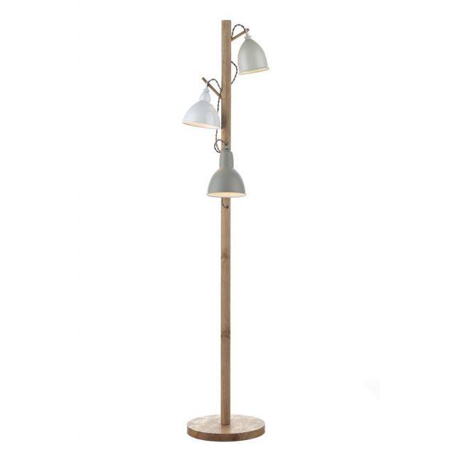 Dar BLY4943 Blyton 3 Light Wood and Metal Floor Lamp