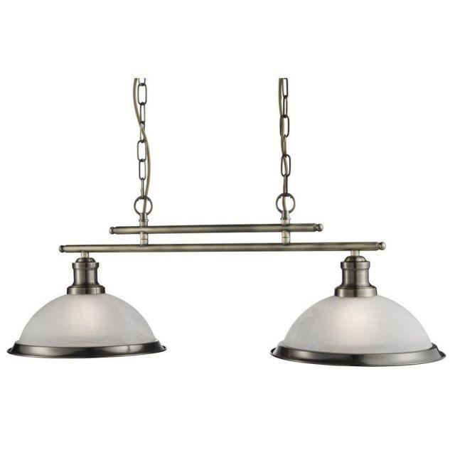 Searchlight 2682-2AB Bistro 2 Light Ceiling Bar Pendant Light Antique Brass