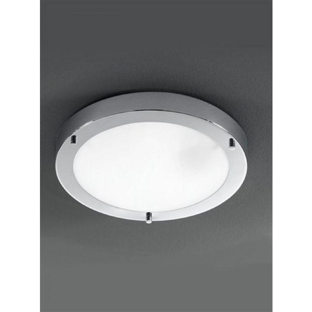 C5681 1 Light Chrome & Glass Flush Bathroom Ceiling Light